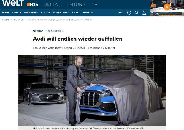 Site alemão Welt mostra detalhe do conceito Q8 (Foto: Reprodução / Welt)
