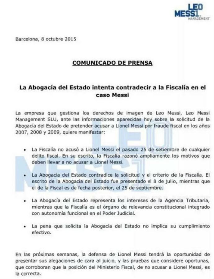 Comunicado Messi sobre pedido de prisão (Foto: Reprodução)