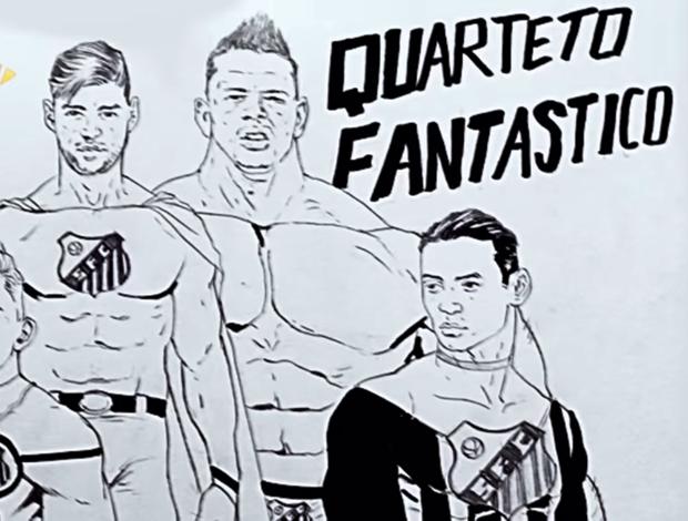 Artista faz desenho com do Quarteto Fantástico do Santos