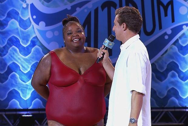 O sorriso mais lindo do Saltibum é dela! Priscilla Marinho vem representando muito bem as plus sizes no programa! (Foto: Caldeirão do Huck/TV Globo)
