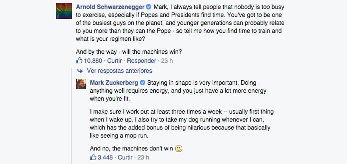 Schwarzenegger  se interessou pelos hábitos saudáveis do criador do Facebook (Foto: Reprodução/Paulo Alves)