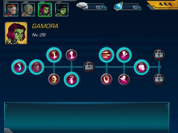 Em Guardians of the Galaxy: The Universal Weapon os personagens desbloquearão poderes especiais e combos conforme seu nível de experiência se desenvolver (Foto: Reprodução/Daniel Ribeiro)