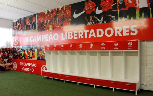 Vestiários do Vale foram alterados para melhor ambientação do grupo do Inter (Foto: Diego Guichard/GLOBOESPORTE.COM)