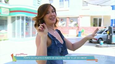 Claudia Raia mostra o cenário do posto da Salete