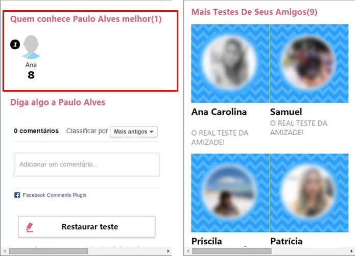 Veja o ranking de respostas e atalhos para os testes dos seus amigos (Foto: Reprodução/Paulo Alves)