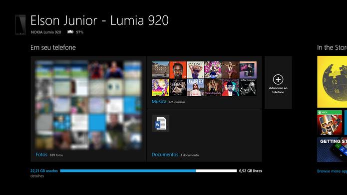 Windows Phone 8 tem aplicativo para Windows 8 que sincroniza fotos com PC (Foto: Reprodução/Elson de Souza)