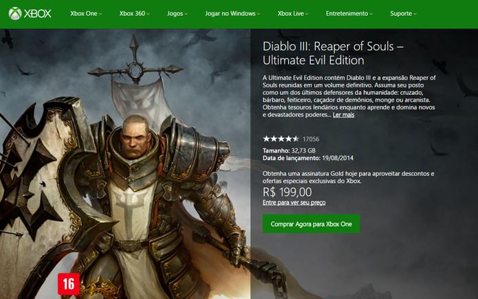 Página de Diablo 3 no site da Xbox LIVE Marktplace (Foto: Reprodução/André Mello)