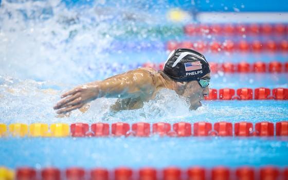 Michael Phelps nos 200m borboleta (Foto: Ricardo Nogueira/ÉPOCA)
