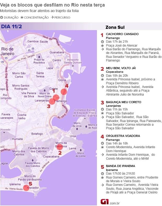 Mapa dos blocos de terça na Zona Sul (Foto: Editoria de Arte)