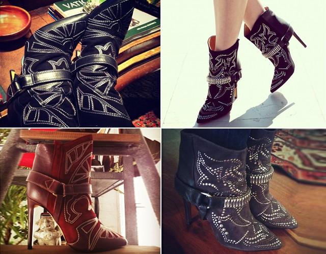 Invasão da bota da grife no Instagram das fashionistas (em sentido horário): o modelo de Jessica Stein, Helena Bordon, Taylor Tomasi Hill e Lalá Rudge  (Foto: Reprodução/Instagram)