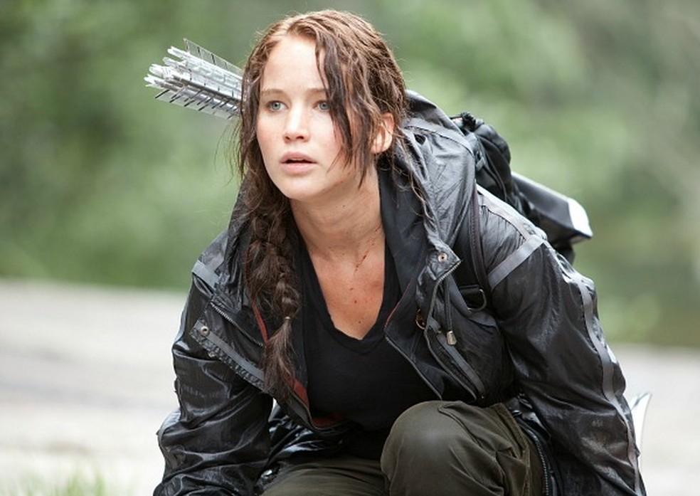 A protagonita Katniss, interpretada por Jennifer Lawrence, na arena dos Jogos Vorazes  (Foto: Divulgação)