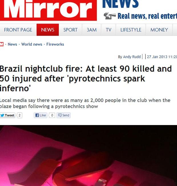 """jornal inglês """"Daily Mirror"""" publicou imagens da fachada da boate no Rio Grande do Sul  (Foto: Reprodução)"""