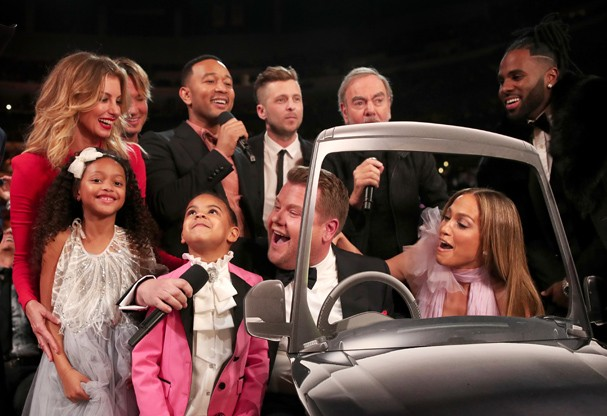 Blue Ivy no meio do segmento de Carpool Karaoke no Grammy (Foto: Getty Images)