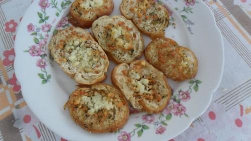 Bruschetta com o pão torrado