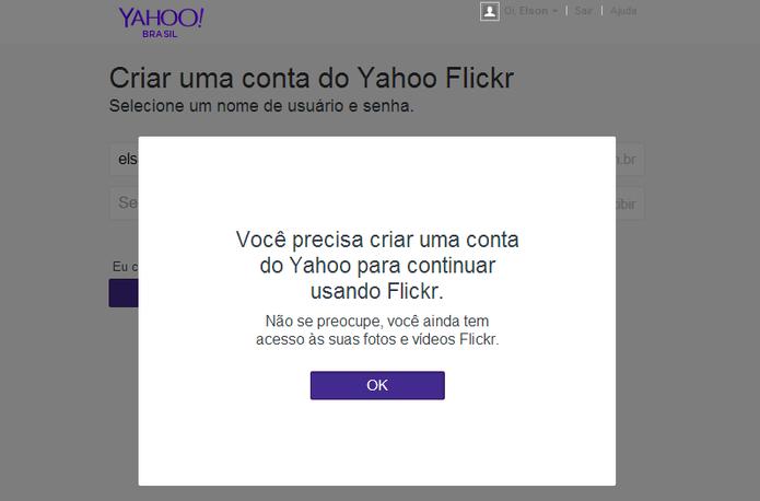 Flickr notificará usuário do Facebook ou Google sobre a migração para conta Yahoo (Foto: Reprodução/Elson de Souza)