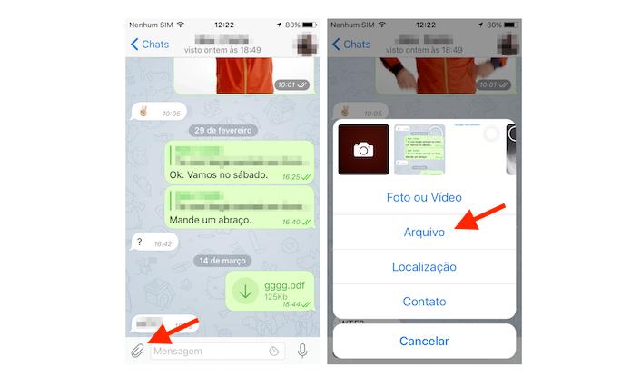 Acessando a ferramenta para compartilhamento de arquivos do Telegram no iPhone (Foto: Reprodução/Marvin Costa)