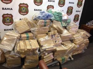 Droga apreendida em fazenda na Bahia (Foto: Alan Tiago Alves/G1)