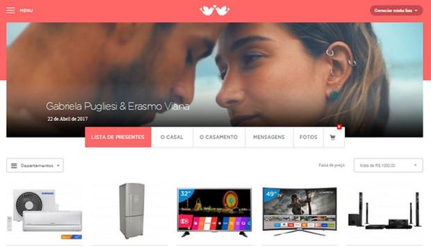 Lista de presente de casamento de Gabriela Pugliesi e Erasmo Viana em site (Foto: Reprodução)