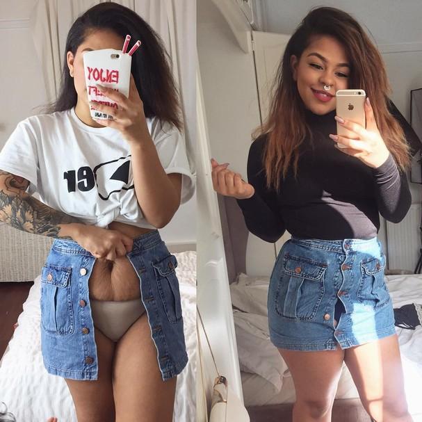 O antes e depois de Mia Redworth: chega de bodyshaming entre as mamães! (Foto: Reprodução/Instagram)