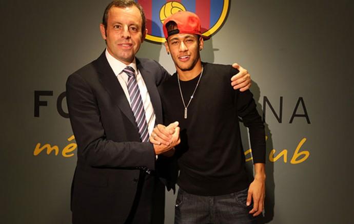 Sandro Rossel e Neymar acordo Barcelona (Foto: Reprodução / Site Oficial do Barcelona)