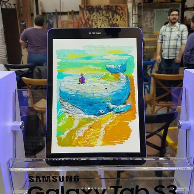 Desenho criado por OsGemeos durante apresentação da Samsung (Foto: Divulgação)