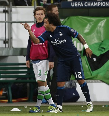 Marcelo Real Madrid x Wolfsburg  (Foto: AFP)