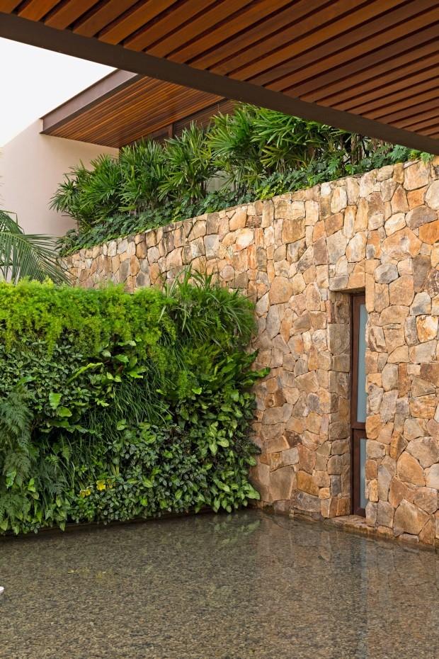 Jardim de entrada. O espelho d'água com um belo jardim vertical, executado pela Verde Vertical, dá as boas-vindas. Acima do muro de pedras, palmeiras-ráfia e xanadus (Foto: Edu Castello / Editora Globo)