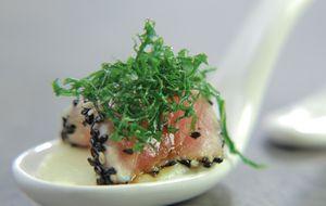 Atum com purê de batata e wasabi: receita de Tamy Osako no 'The Taste'
