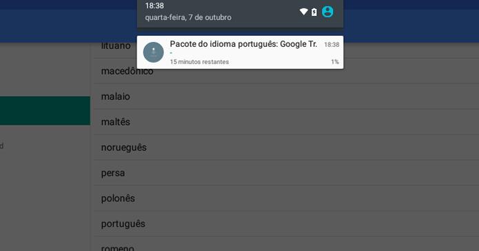 Acompanhe o download do pacote pelas notificações do Android (Foto: Reprodução/Paulo Alves)