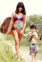 Dani Suzuki e Kauai mostram looks de moda praia para mães e filhos
