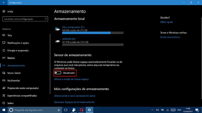 Clique em chave para ativar Sensor de armazenamento do Windows 10 (Foto: Reprodução/Elson de Souza)