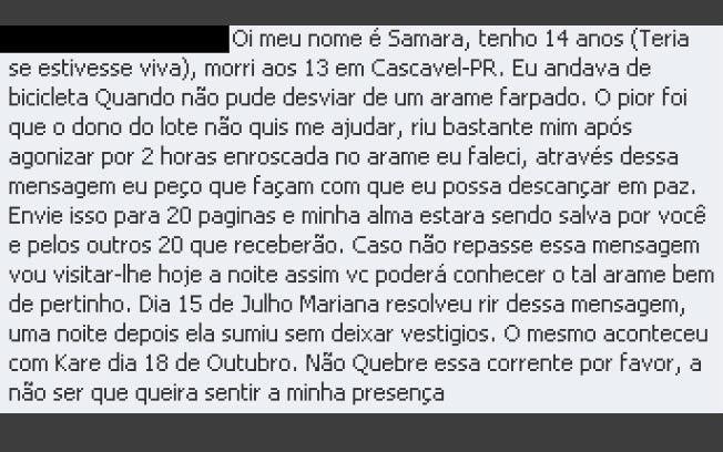 Samara, de Cascavel, uma das correntes brasileiras mais famosas (Foto: Reprodução/Orkut)