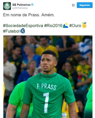 Palmeiras Gabriel Jesus Prass (Foto: Reprodução/Twitter)