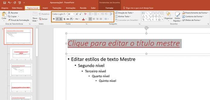 Edite as funções do título no slide mestre (Foto: Reprodução/Barbara Mannara)