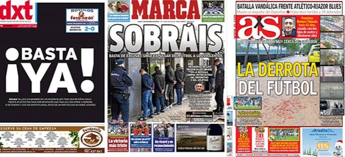 Jornais morte Torcedor (Foto: Reprodução)
