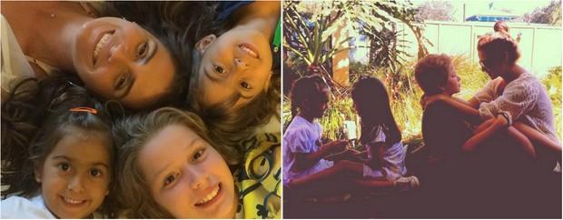 Giovanna Antonelli com as filhas gêmeas, Sofia e Antônia, de 4 anos, e Pietro, de 9 anos (Foto: Reprodução do Instagram)