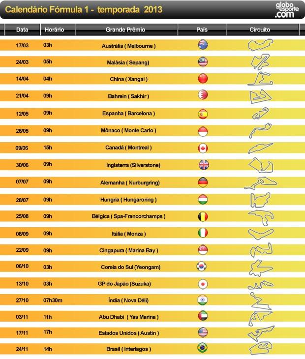 calendário fórmula 1 temporada 2013 (Foto: Editoria de arte)