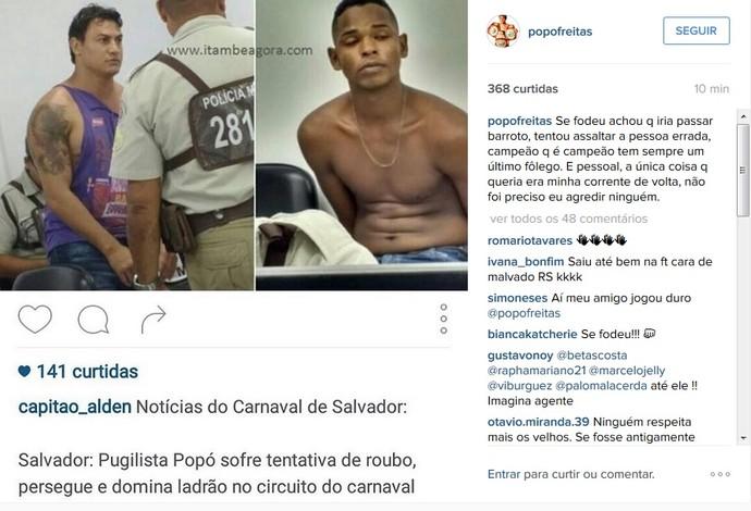 Popó assalto carnaval (Foto: Reprodução/Instagram)