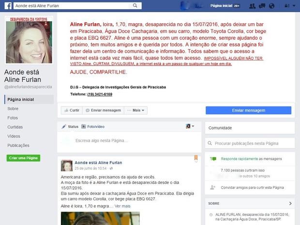 Página recebe pista sobre paradeiro de modelo Aline Furlan Piracicaba (Foto: Reprodução/Facebook)