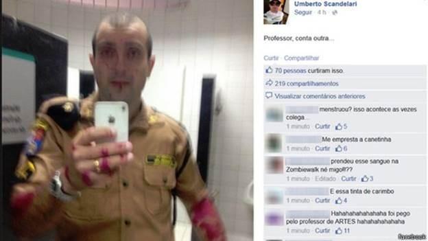 Suposto 'sangue' na foto publicada por PM é 'tinta', afirma corporação  (Foto: BBC)