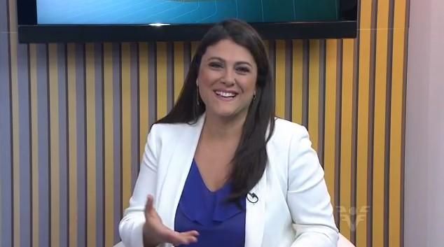 Janaina Hohne fala sobre o início da primavera e as variações do tempo no JT1 (Foto: Reprodução/TV Tribuna)