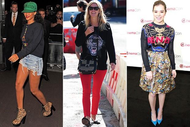 MODA - Kenzo sweatshirts - Rihanna, Nicky Hilton e Hailee Steinfeld (Foto: Getty Images)