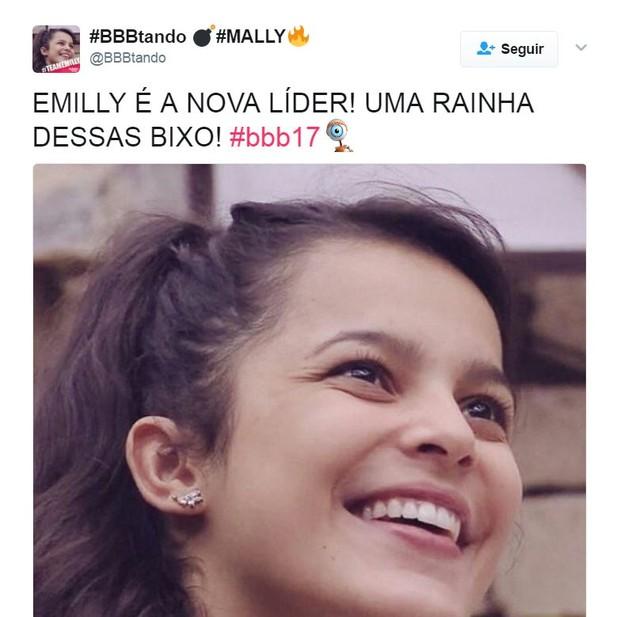 Emilly vence prova de resistência e fãs comemoram (Foto: Reprodução/Twitter)