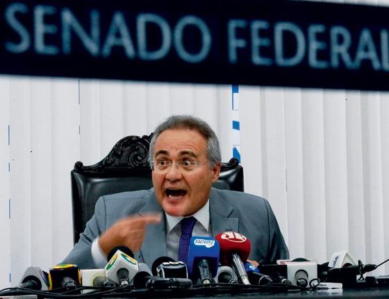 O presidente do Senado,Renan Calheiros.Sua animosidade em relação á Lava Jato lembra Eduardo Cunha (Foto:  Pedro Ladeira/Folhapress)