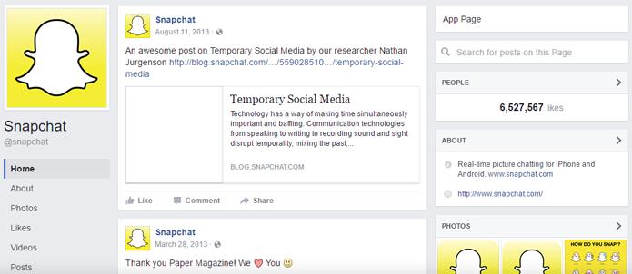 Página do Snapchat foi removida do Facebook (Foto: Reprodução/Google Cache)