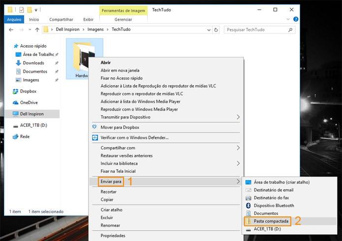 Salve a pasta inteira dentro de um arquivo Zip, fica mais fácil para organizar (Foto: Reprodução)