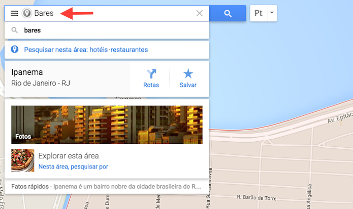 Buscando por um tipo de local no Google Maps (Foto: Reprodução/Marvin Costa)
