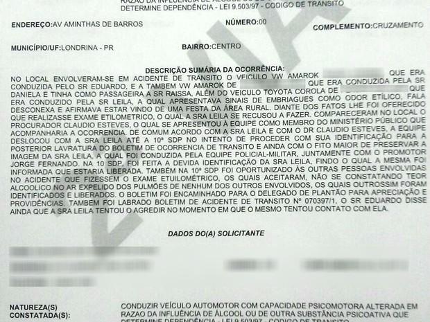 Boletim de Ocorrência detalha que a promotora Leila Schimiti apresentava sinais de embriaguês (Foto: Divulgação/PM)