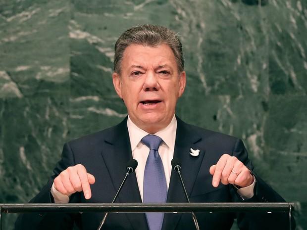 O presidente da Colômbia Juan Manuel Santos discursa na ONU  (Foto: Spencer Platt/Getty Images/AFP )