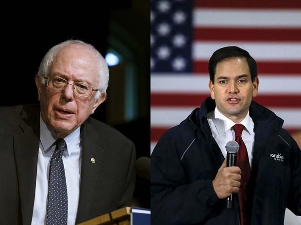 Os senadores Bernie Sanders e Marco Rubio são pré-candidatos à presidência dos Estados Unidos pelo Partido Democrata e Republicano, respectivamente (Foto:  REUTERS/ Rick Wilking/ Carlo Allegri)